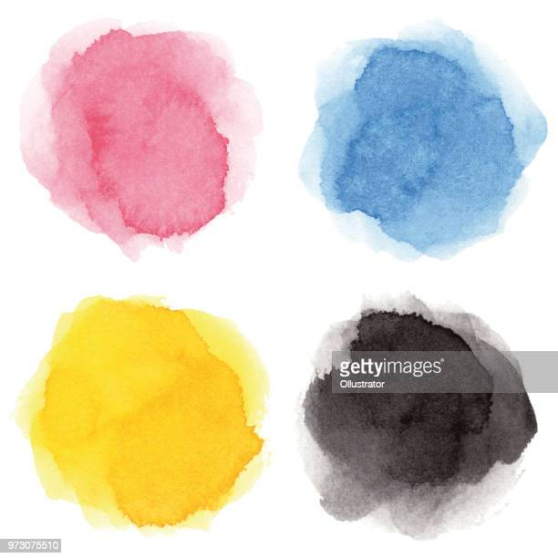 round multicolored watercolor spots - yellow stock illustrations
