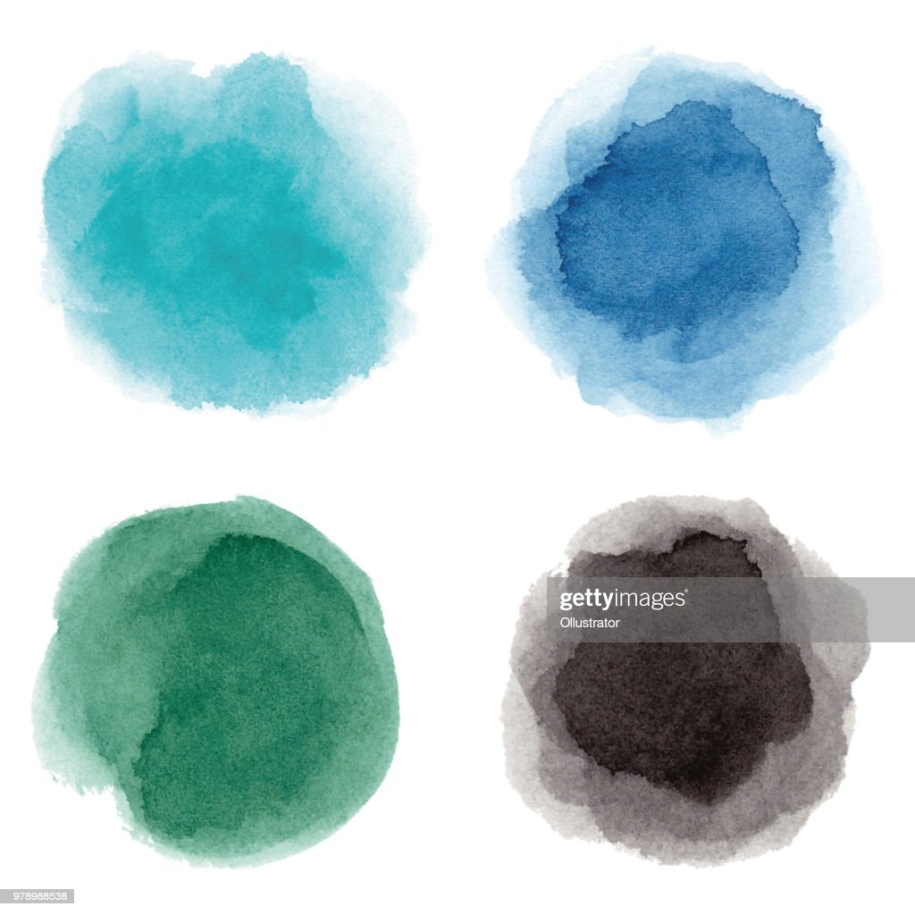 Runde bunte Aquarell Flecken : Stock-Illustration