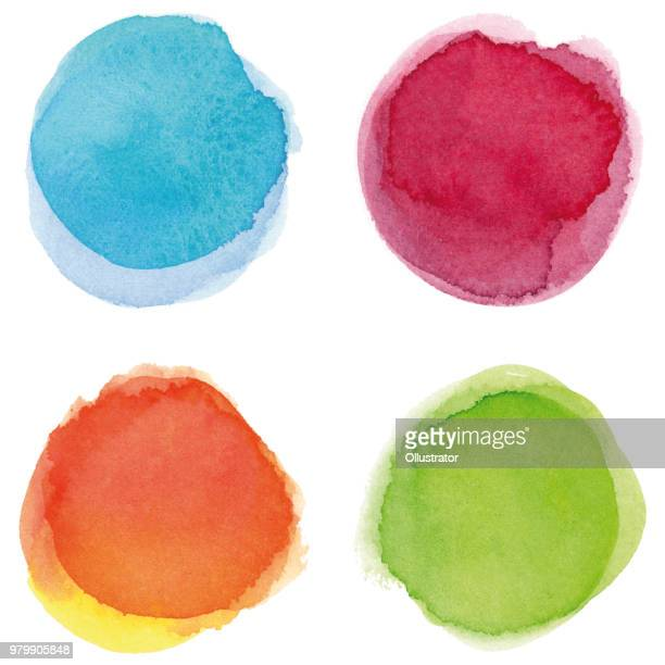 round multicolored watercolor spots - artistic product stock illustrations