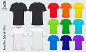 Round neck t-shirts templates. Set of colored shirt mockup in front view and back view for baseball, soccer, football , sportswear or casual wear. Vector
