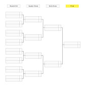Round of 16 tournament bracket template for infographics.