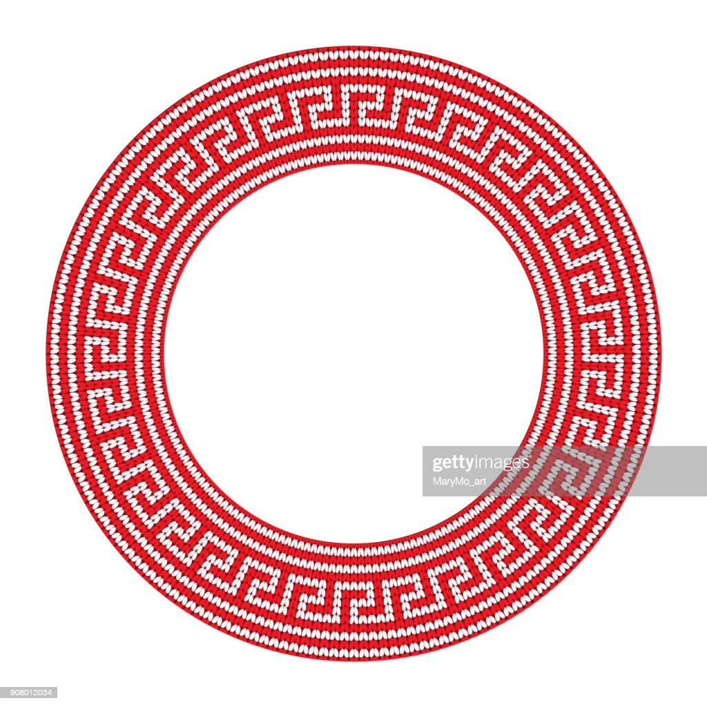 Round ornamental red colored frame isolated on white, greek border