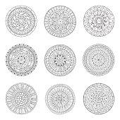 Round ornaments set of doodle mandalas