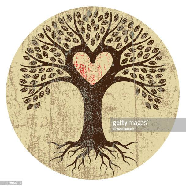 round peeling paint heart tree - family tree stock illustrations