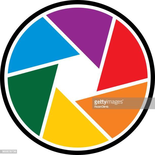 round rainbow camera shutter icon - aperture stock illustrations, clip art, cartoons, & icons