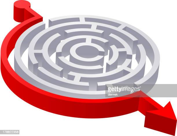 3D Round Red Solved Maze
