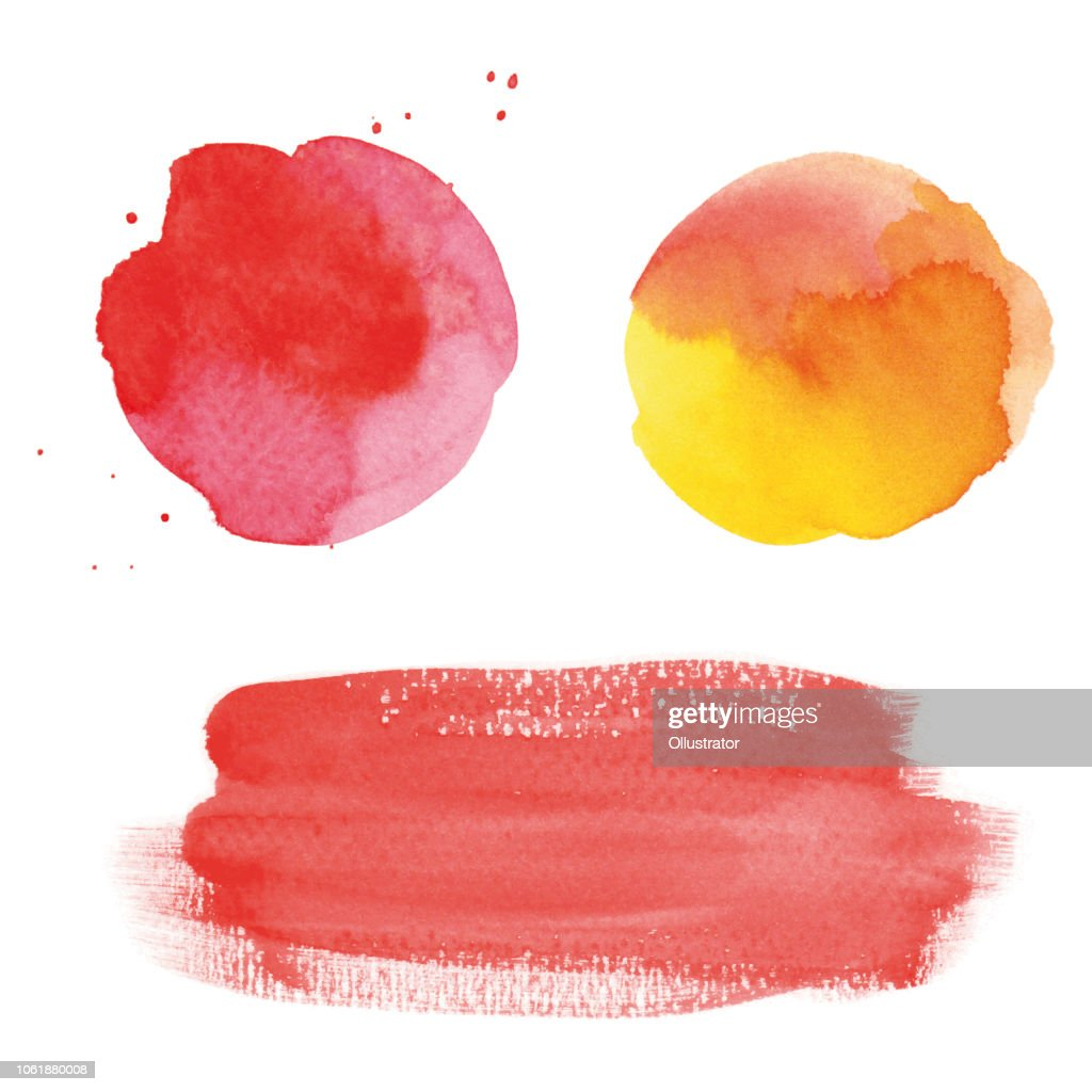 Round red watercolor spots and banner : stock illustration