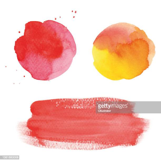 round red watercolor spots and banner - orange color stock illustrations