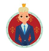 Round red-blue frame, modern prince with blonde hair
