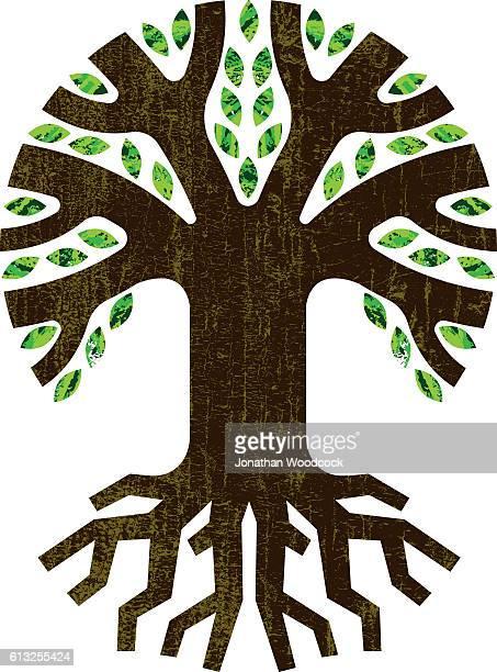 Round root tree icon illustration