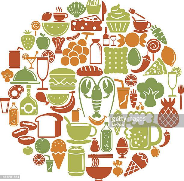round shape with food and beverage icons - cracker snack stock illustrations, clip art, cartoons, & icons