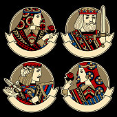 Round shapes with faces of playing cards characters and ribbons for text