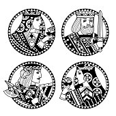 Round shapes with faces of playing cards characters in black and white colors