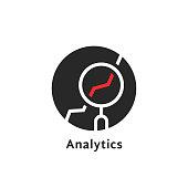 round simple analytics isolated on white