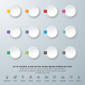 Round square rounded buttons set.