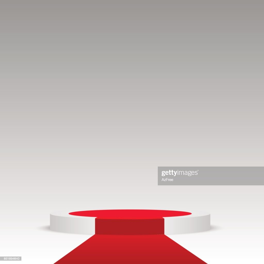 Round stage podium illuminated. Stage vector backdrop. Festive podium scene with red carpet for award ceremony. Vector illustration.