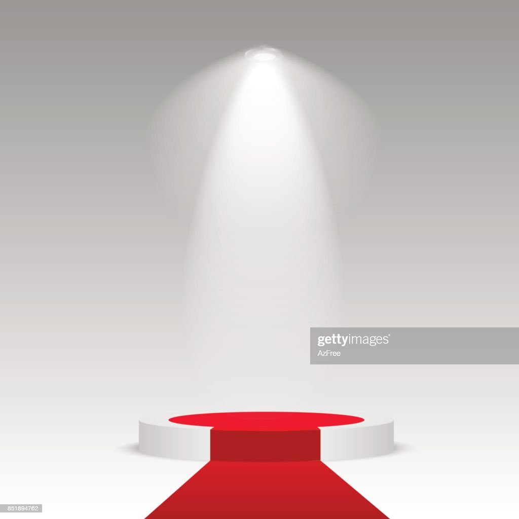 Round stage podium illuminated with light. Stage vector backdrop. Festive podium scene with red carpet for award ceremony. Vector illustration.
