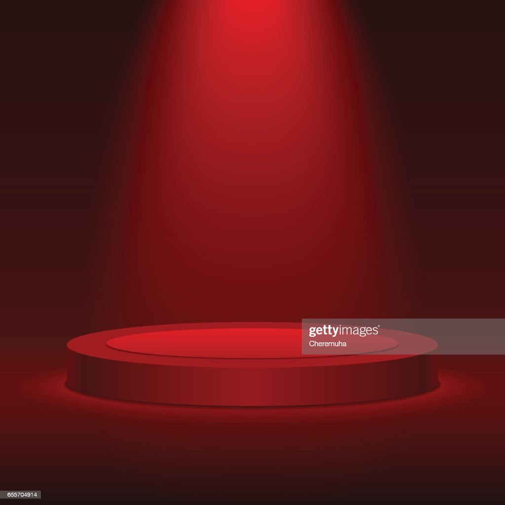 Round stage podium with red light. Scene for award ceremony.