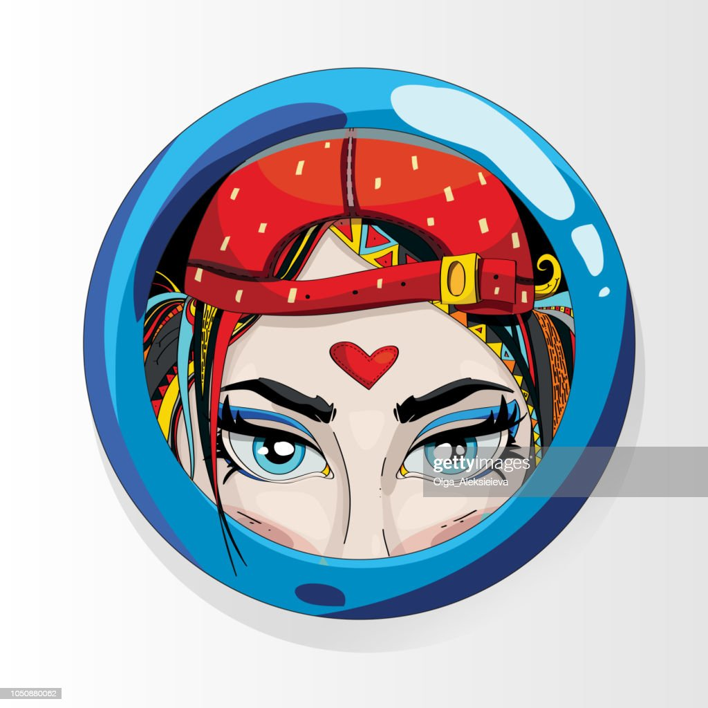 A round sticker with a beautiful girl. Vector cartoon. Blue-eyed beauty girl in a cap. Sports girl.