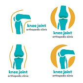 Round symbol of knee joint bones