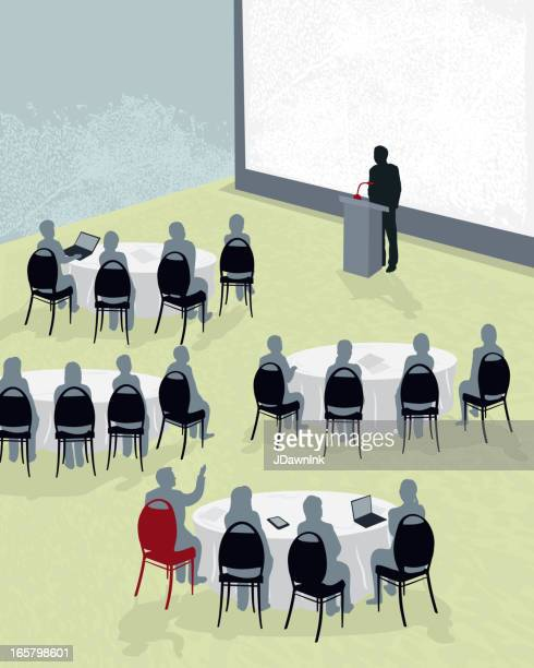 round table conference with speaker - conference table stock illustrations, clip art, cartoons, & icons