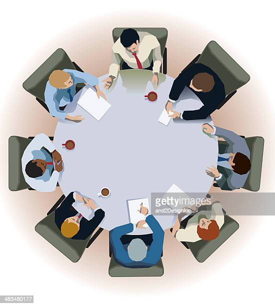 round table interview - conference table stock illustrations, clip art, cartoons, & icons
