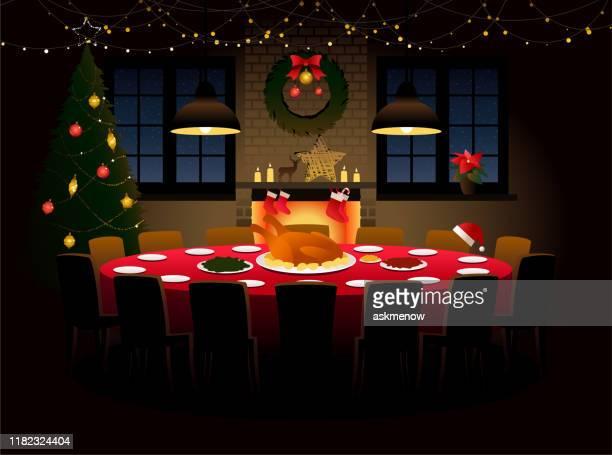 ilustraciones, imágenes clip art, dibujos animados e iconos de stock de mesa redonda con cena de navidad - mesa de comedor