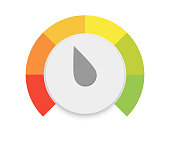 round temperature Round Speedometers with slow and fast speed download. Vector illustration.Colored measuring semicircle scale in flat style