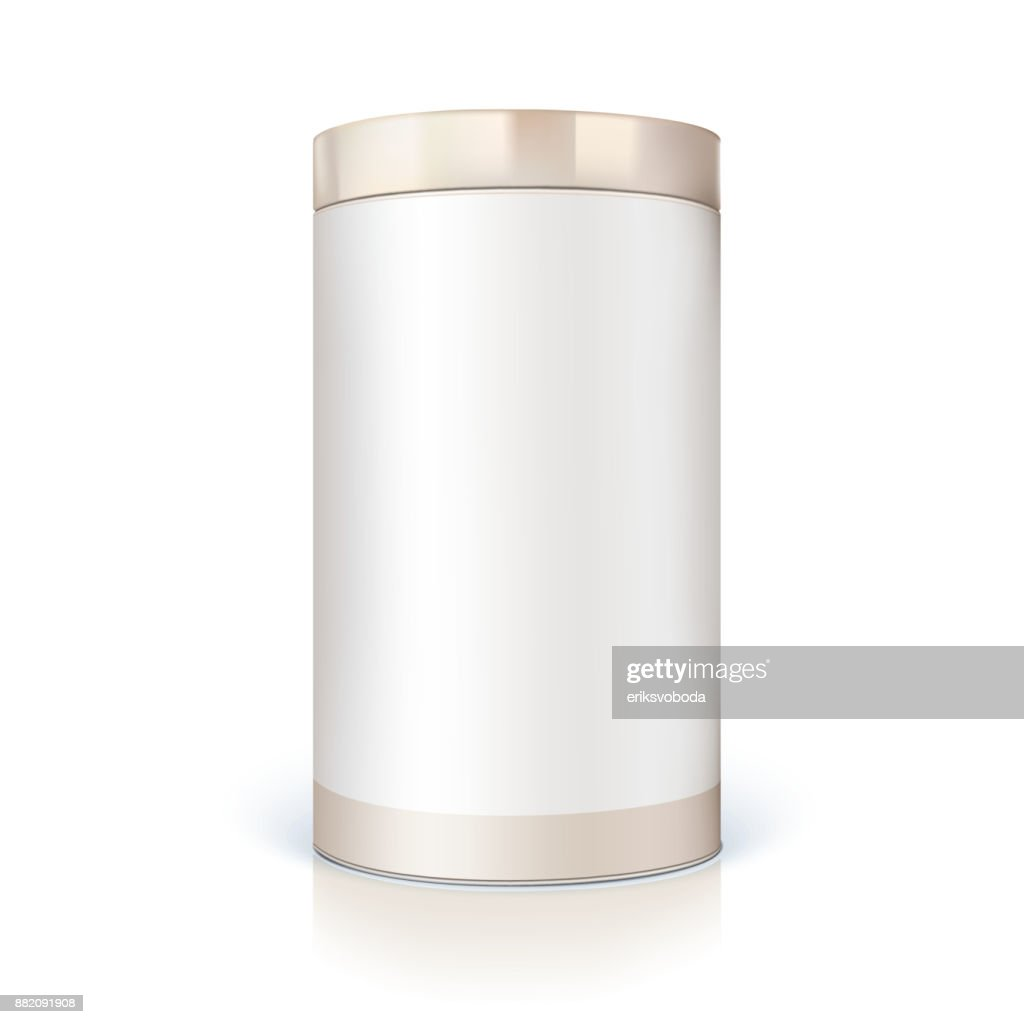 Round tin of packaging for bulk products. Container cylindrical shaped with glossy light, icon of blank round tin can template. Vector 3D illustration isolated on white background