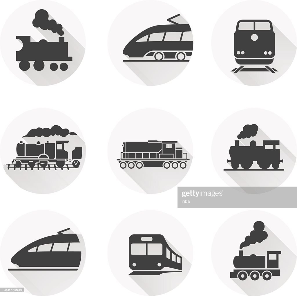 Round train icon on white background. Vector elements