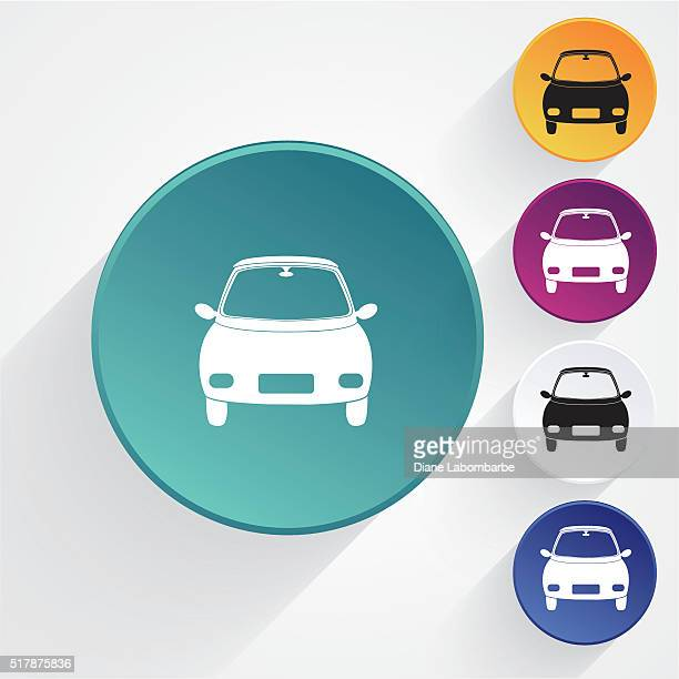 Round Transportation Icon Set Compact Car