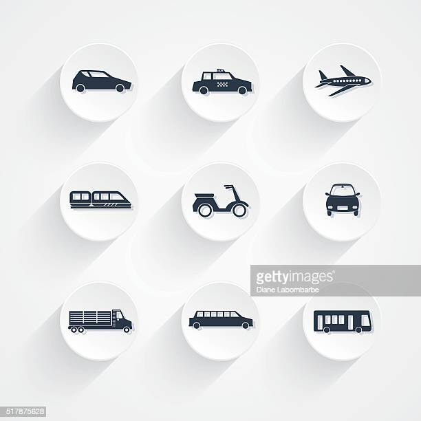 Round Transportation Icon Set