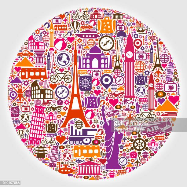round travel pattern - pisa stock illustrations, clip art, cartoons, & icons