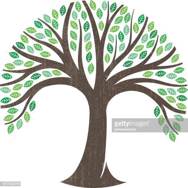 round tree graphic illustration logo - family tree stock illustrations, clip art, cartoons, & icons