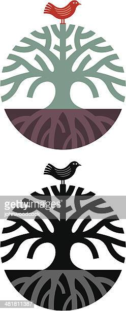 round tree symbol - root stock illustrations, clip art, cartoons, & icons