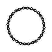 Round Vector Frame Made of Bike or Bicycle Chain. Monochrome Black Bike Chain. Bike Chain Circle Frame