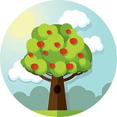 Round vector picture tree apples apple  among the clouds and
