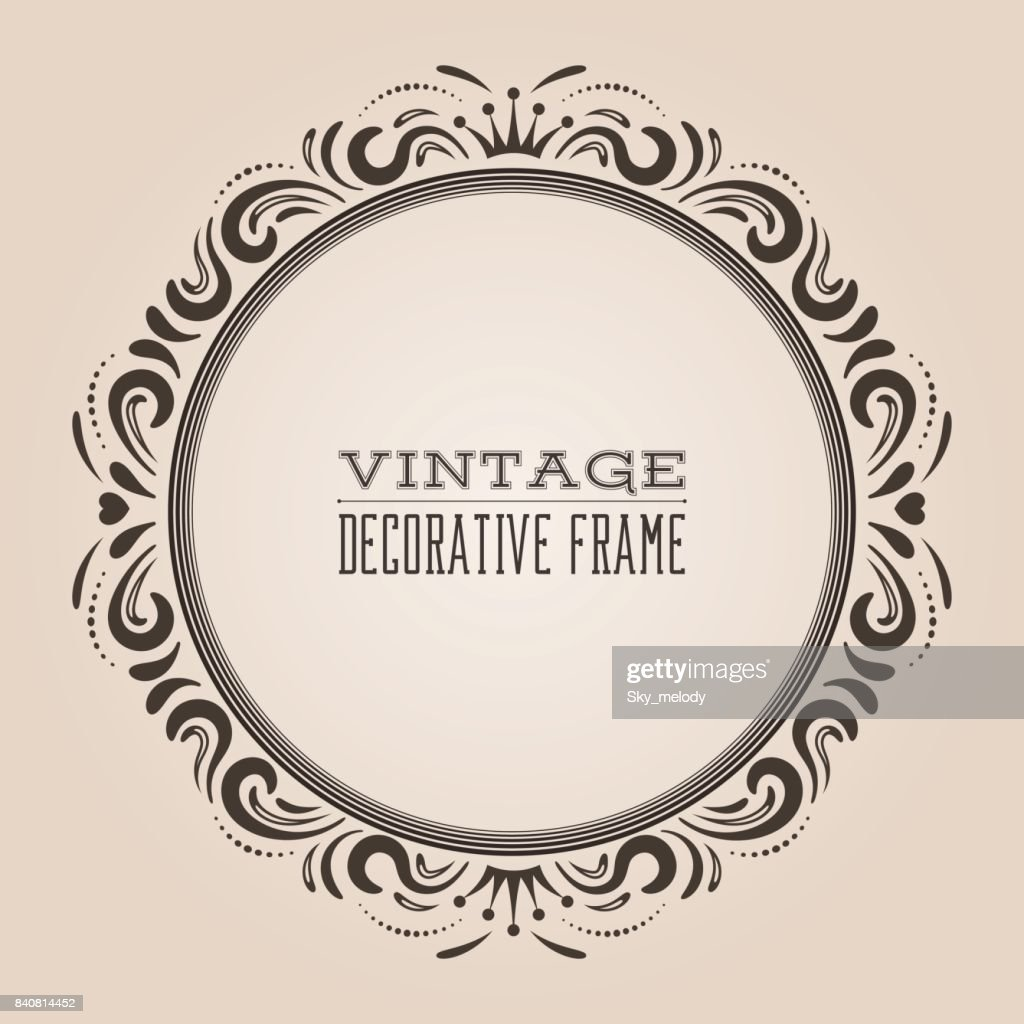 round vintage ornate border frame victorian and royal baroque style