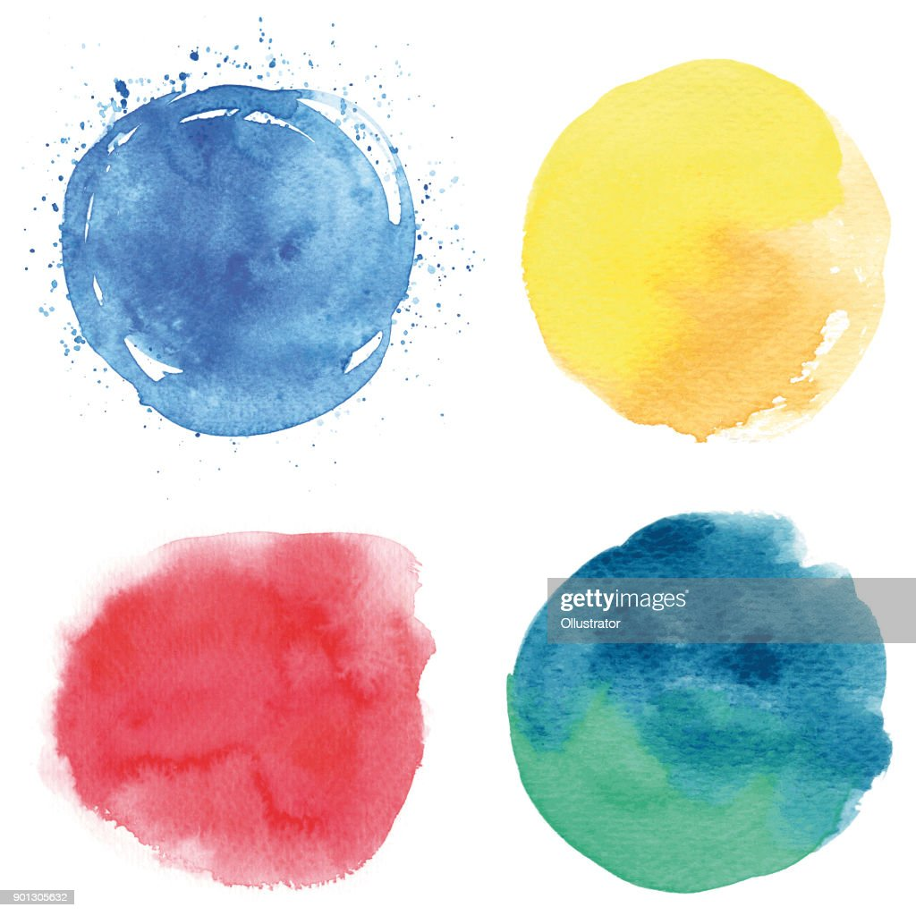 Round watercolor spots : stock illustration