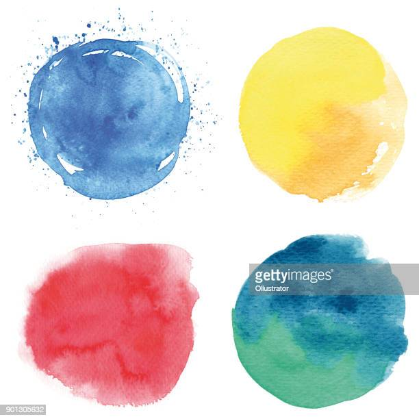 round watercolor spots - yellow stock illustrations