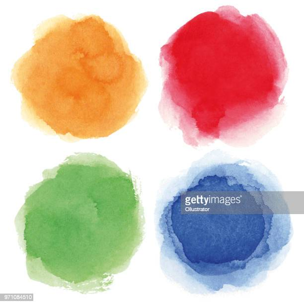 round watercolor spots - orange color stock illustrations
