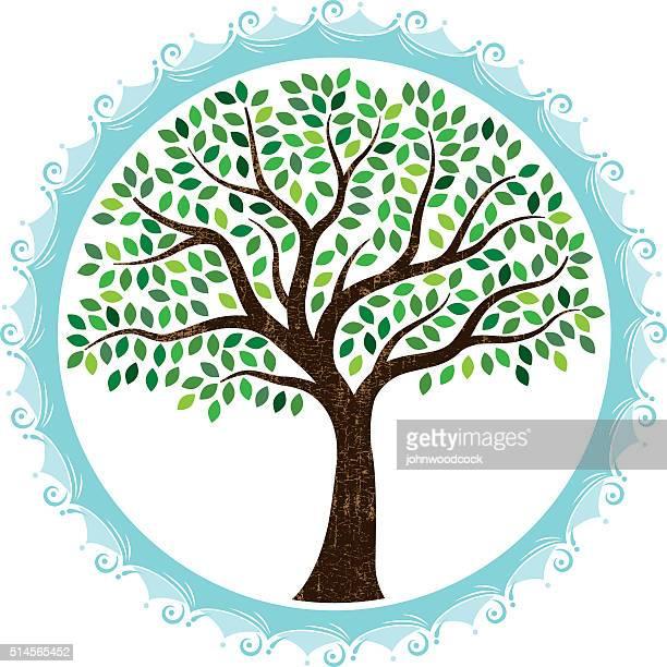 round watery tree circle - tree trunk stock illustrations, clip art, cartoons, & icons