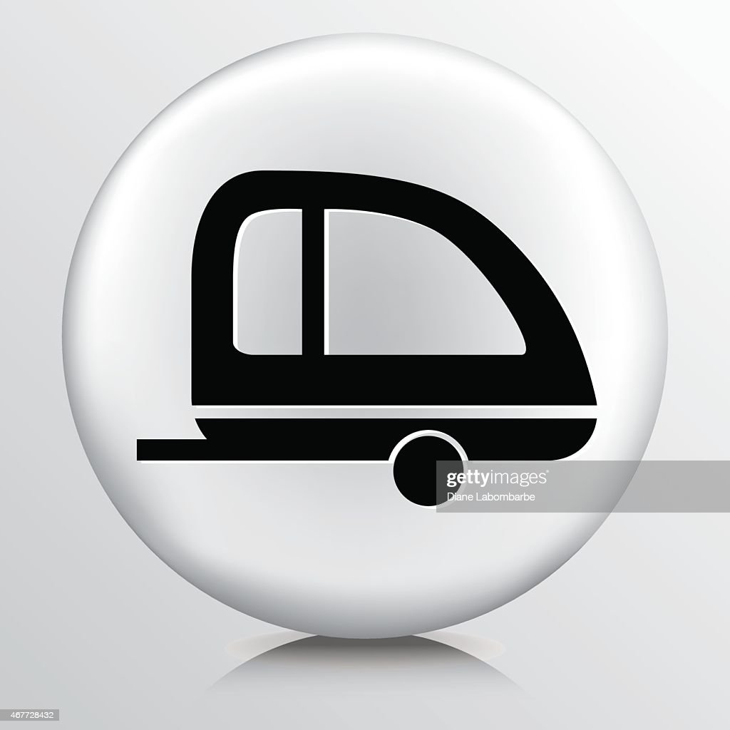 Round White Icon With Silhouette Retro Camping Trailer Vector Art