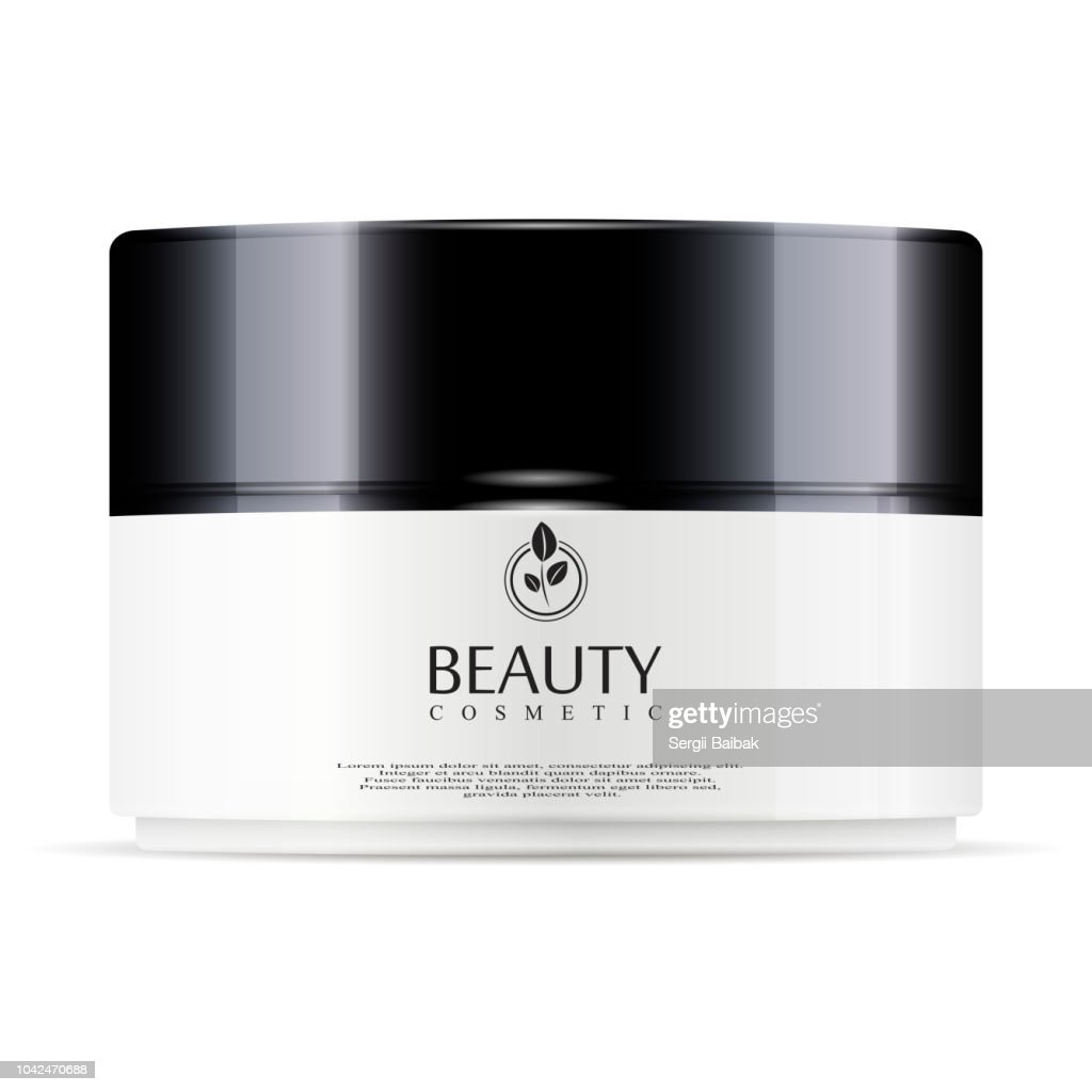 Round white plastic jar with black glossy lid for cosmetics - body cream, gel, butter, bath salt, skin care, powder. Realistic packaging mockup template. Vector illustration.