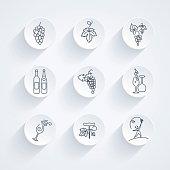Round Winery Grapes Thin Line Art Icon Set