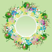 round wreath of field flowers of chamomiles, burdock