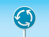 Roundabout German Road Sign Blue