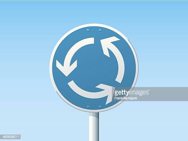 Kreisverkehr deutsche Schild-Blau