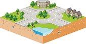 Roundabout isometric vector illustration