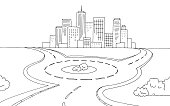 Roundabout road graphic black white landscape sketch illustration vector